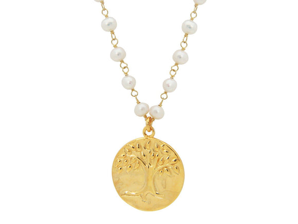Golden Tree of Life & Pearls Necklace - Presidential Brand (R)