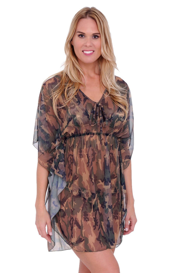 Gorgeous MESH CAMOFLOUGE Swimwear Cover up SHORT SLEEVE DRESS:CAMO - Presidential Brand (R)