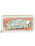 STAY WEIRD PRINT VINYL CLUTCH WALLET - Presidential Brand (R)