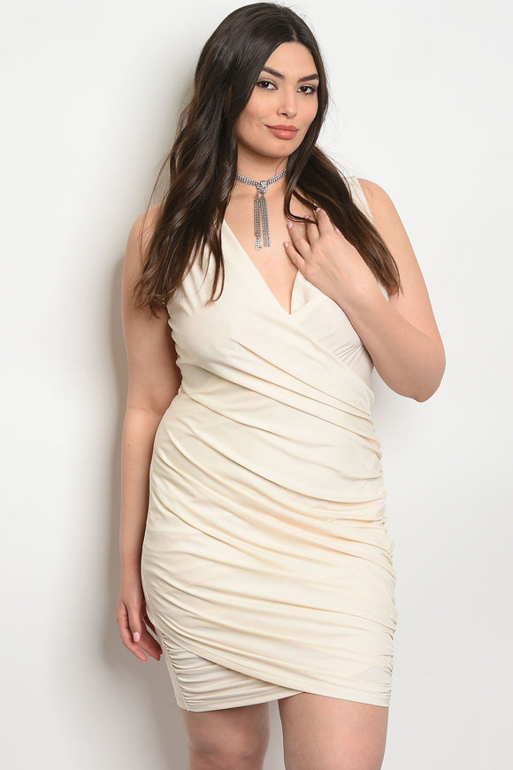 Women's Plus Size Cream Sleeveless Surplice Front Bodycon MIni Dress(6 pcs/ Bundle) - Presidential Brand (R)