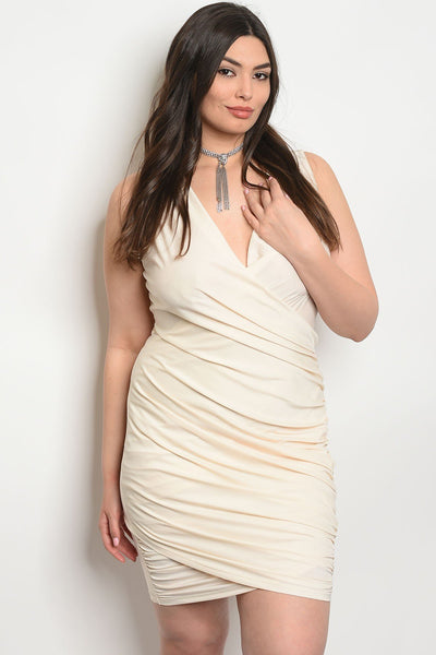 Women's Plus Size Cream Sleeveless Surplice Front Bodycon MIni Dress(6 pcs/ Bundle)