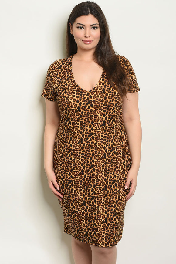 Women's Plus Size Leopard Short Sleeve V-Neck Leopard Print Tunic Dress(6 pcs/ Bundle)