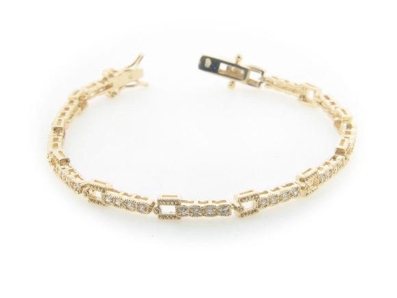 Sparkling Art Deco Bracelet in Gold Plated Sterling Silver, Box Safety Closure - Presidential Brand (R)