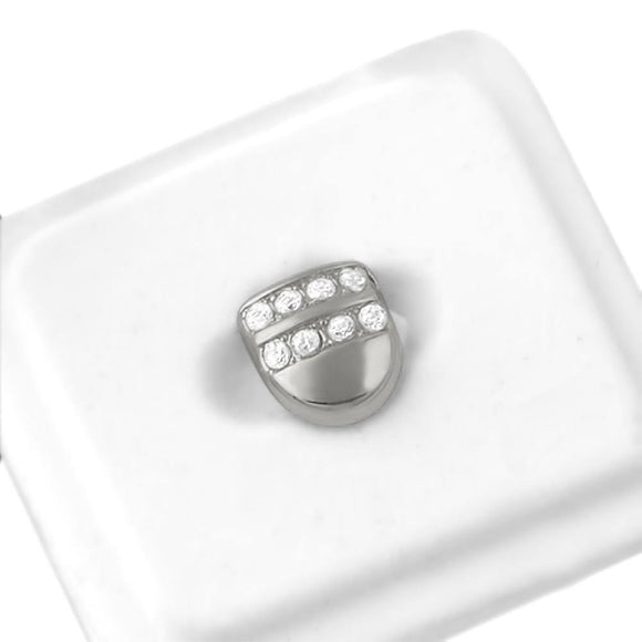 2 Row Ice Single Tooth Cap Grillz - Presidential Brand (R)