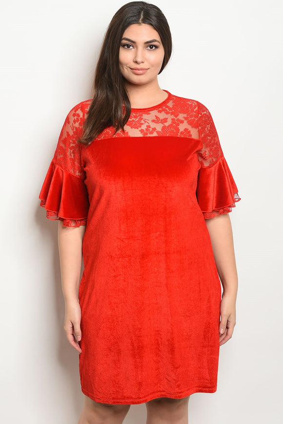 Women's Plus Size Red Short Sleeve Shift Dress wiht Lace Details and a Crew Neckline(6 pcs/ Bundle) - Presidential Brand (R)