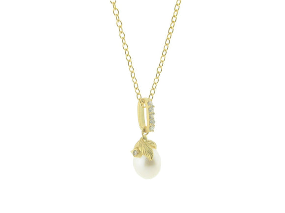 Vermeil Rice Pearl Flower Pendant Necklace, 16