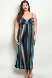 Women's Plus Size Black Teal Sleeveless V-Neck Striped Side Slit Maxi Dress(6 pcs/ Bundle) - Presidential Brand (R)