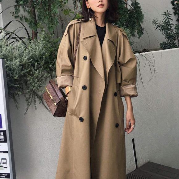 Womens Double Breasted Long Trench