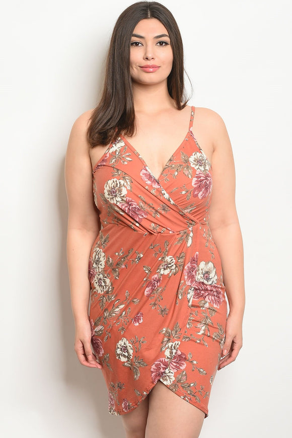 Women's Plus Size Tangerine Floral Sleeveless V-Neck Floral Bodycin Dress(6 pcs/ Bundle) - Presidential Brand (R)