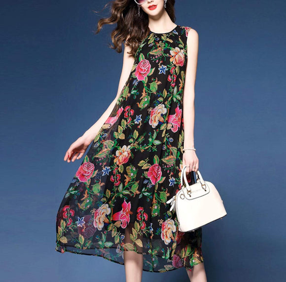 Womens Sleeveless Floral Chiffon Dress