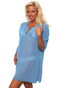 Women's Chiffon Long Sleeve Swimwear Cover-up Beach Dress Made in the USA - Presidential Brand (R)