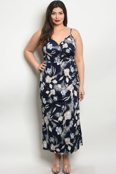 Women's Plus Size Navy Blue Sleeveless Deep V-Neck Floral Maxi Dress With Side Slit(6 pcs/ Bundle)