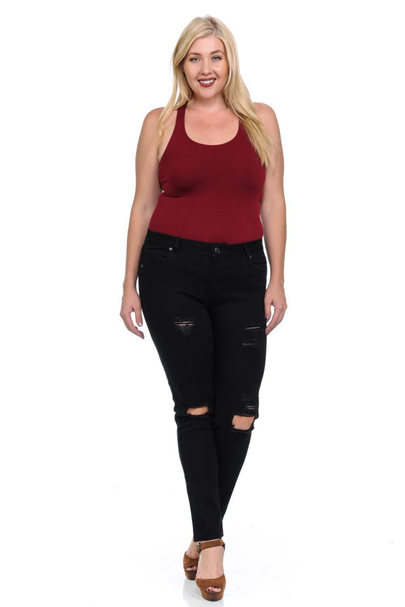 Pasion Women's Jeans - Plus Size - High Waist - Push Up - Skinny - Style CH087