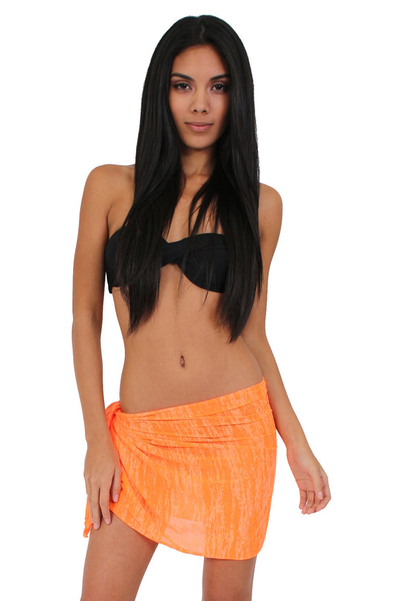 Women's Short Burnout Sarong Bikini Cover Up Wrap Pareo Made in the USA