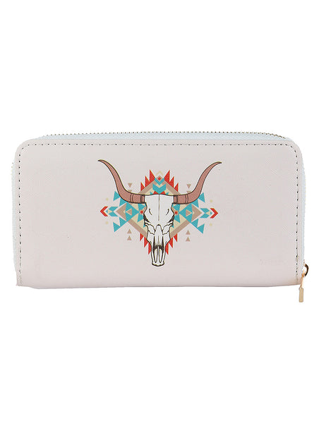 TRIBAL LONGHORN PRINT VINYL CLUTCH WALLET