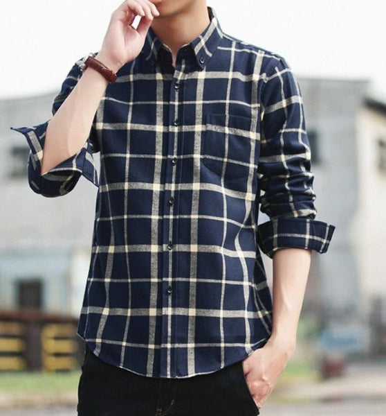 Mens Long Sleeve Checkered Cotton Shirt
