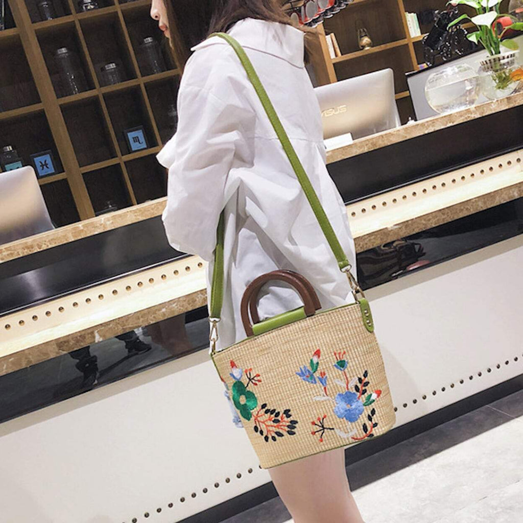 Embroidered Straw Crossbody Bag