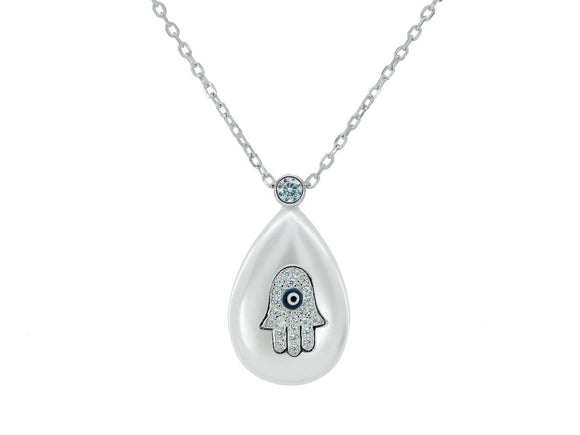 Sterling Silver Mother of Pearl Hamsa Drop Pendant Necklace | Length: 15.5 - 17.5 Inches - Presidential Brand (R)