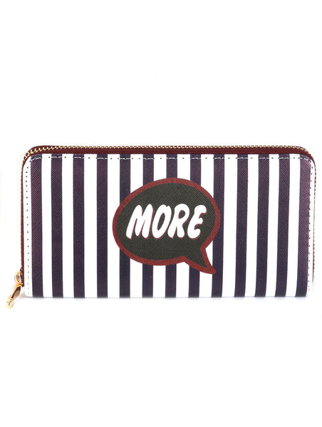 MORE STRIPE PRINT VINYL CLUTCH WALLET