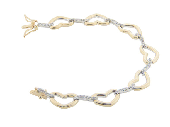 High Luxe CZ Love & Hearts Curbed Link Bracelet in Sterling Silver