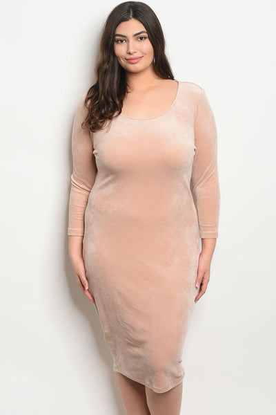 Women's Plus Size Dusty Pink 3/4 Sleeve Scoop Neck Velvet Bodycon Dress(6 pcs/ Bundle)