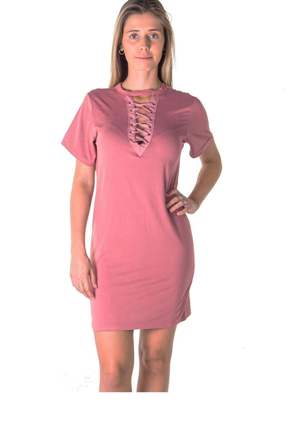 Ladies fashion knit bodycon v neck lace up mini dress - Presidential Brand (R)