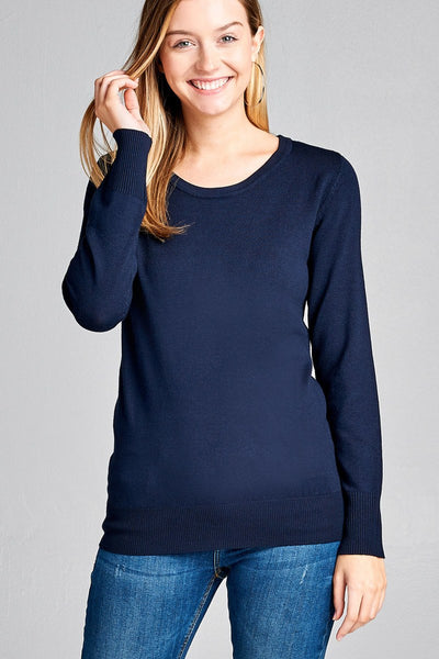 Ladies fashion long sleeve crew neck classic sweater