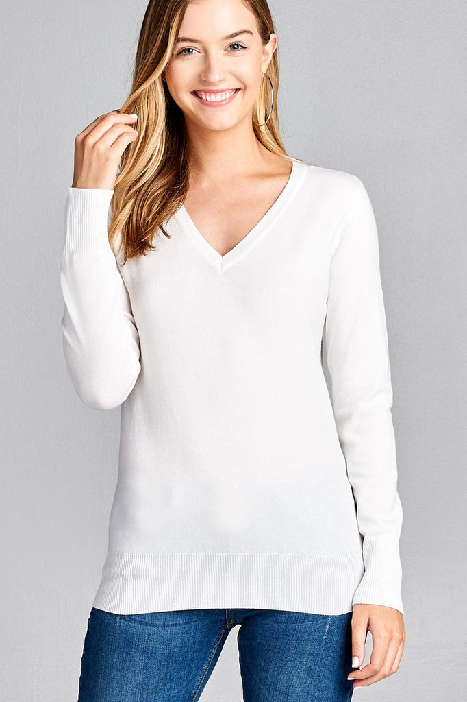 Ladies fashion long sleeve v-neck classic sweater