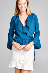 Ladies fashion 3/4 bell sleeve wrap w/ruffle side tie closure flare bottom wool dobby woven top - Presidential Brand (R)