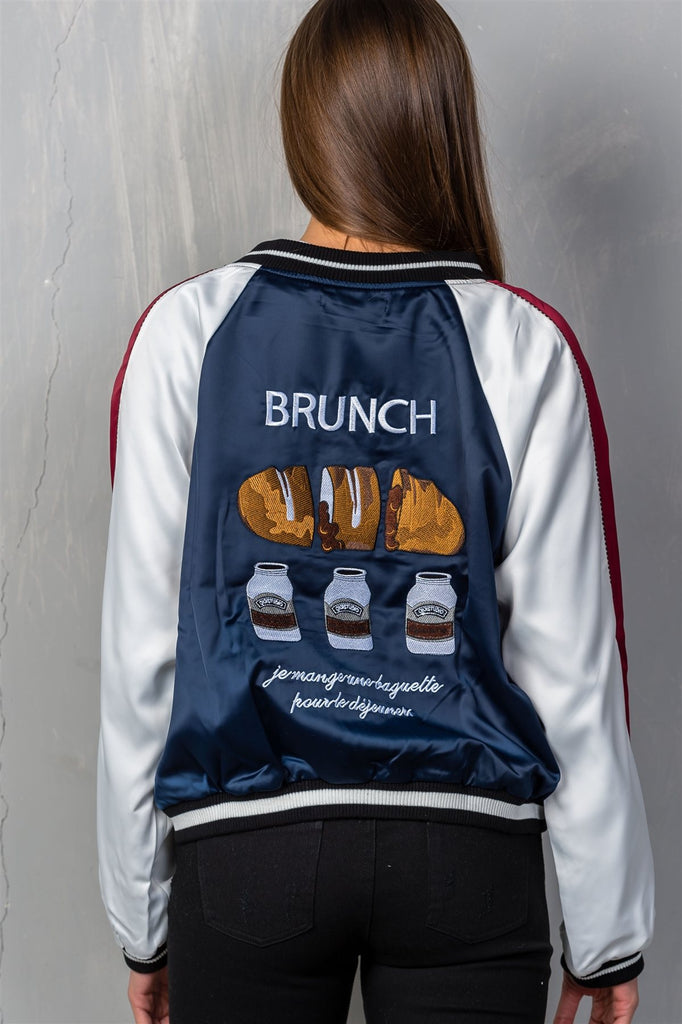 "Ladies fashion navy ""brunch"" embroidered bomber color-block jacket"