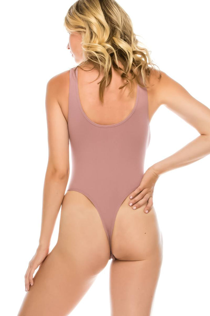 Ladies fashion criss cross front straps seamless bodysuit