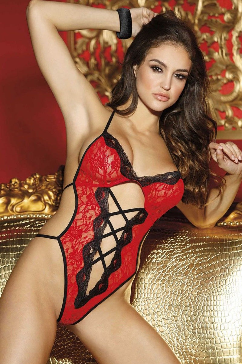 Ladies stretch lace thong teddy