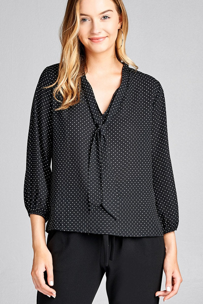 Ladies fashion 3/4 sleeve self bow tie neck back keyhole dot print woven top