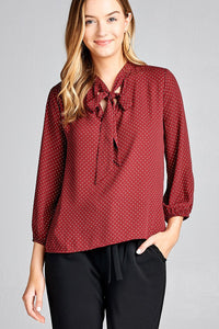 Ladies fashion 3/4 sleeve self bow tie neck back keyhole dot print woven top - Presidential Brand (R)