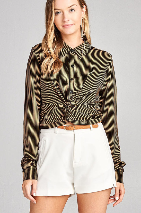 Ladies fashion long sleeve front knot w/button stripe rayon challis woven top - Presidential Brand (R)