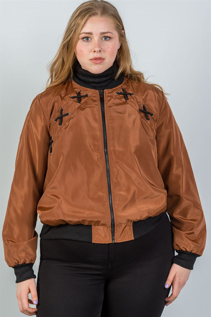 Ladies fashion plus size criss-cross sides bomber jacket