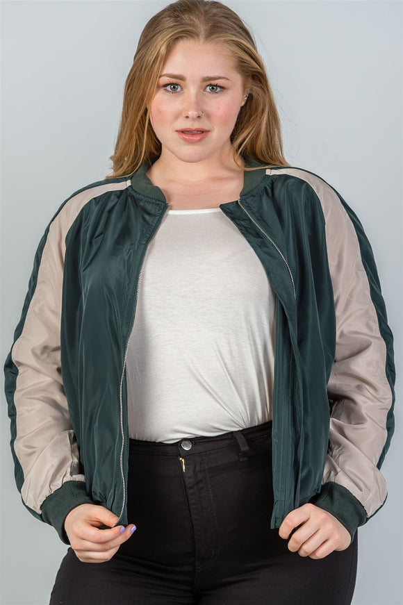 Ladies fashion plus size color block stand collar zipper long sleeve bomber jacket