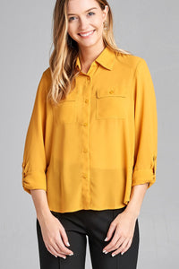 Ladies fashion long sleeve front pocket chiffon blouse w/ back button detail - Presidential Brand (R)