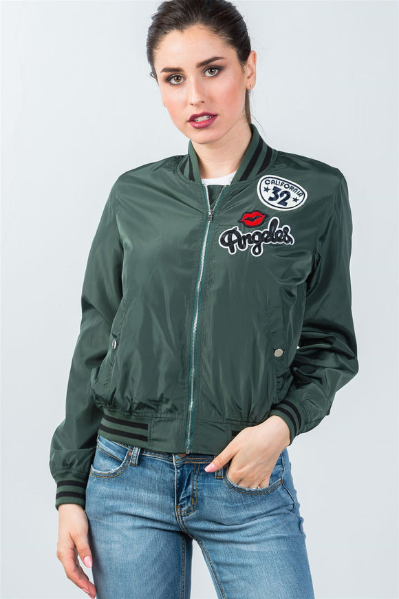 Ladies fashion ribbed trim patch bomber jacket - Presidential Brand (R)