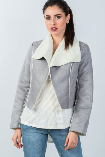 Ladies fashion relaxed fit faux sheepskin drape neck jacket