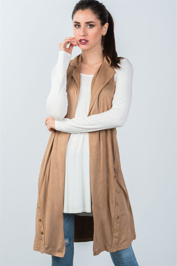 Ladies fashion knee length  sleeveless open front cardigan vest