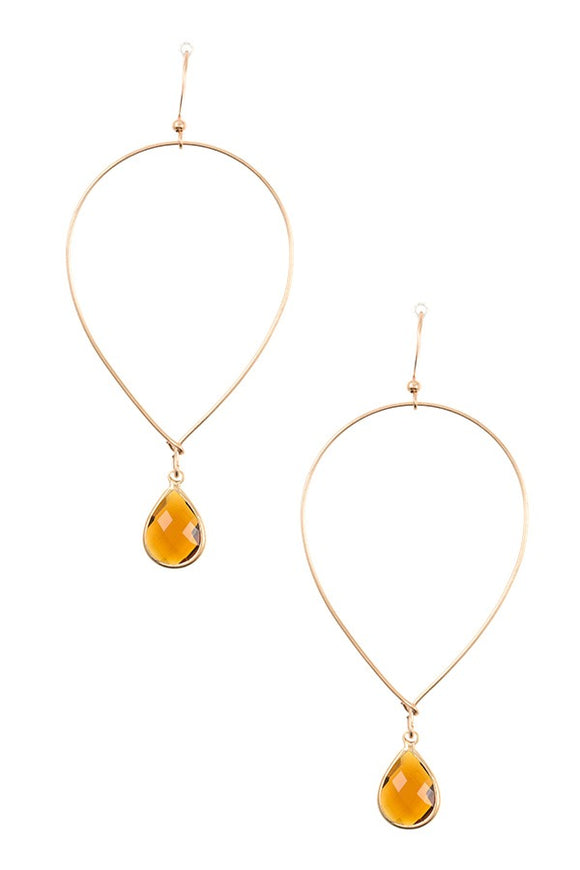 Ladies fashion faceted gem teardrop dangle earring - Presidential Brand (R)
