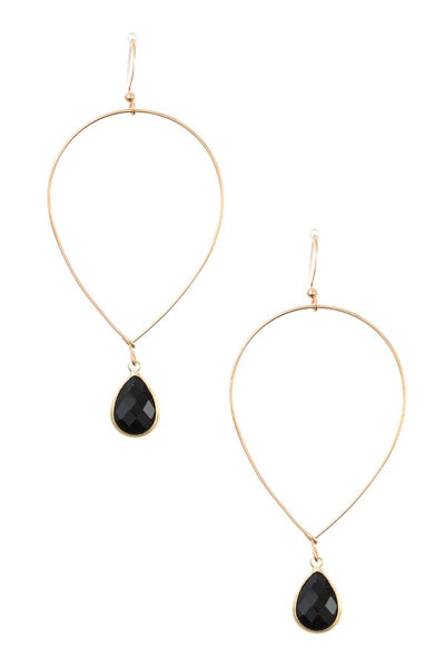 Ladies fashion faceted gem teardrop dangle earring