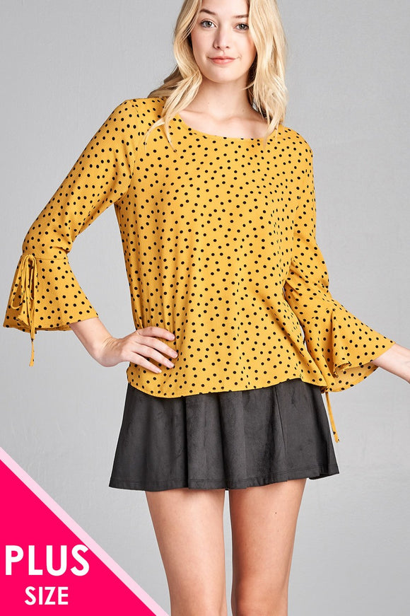 Ladies fashion plus size 3/4 w/bell sleeve round neck dot print crepe woven top - Presidential Brand (R)