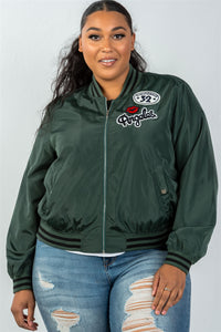 Ladies fashion plus size dark green patch bomber jacket - Presidential Brand (R)