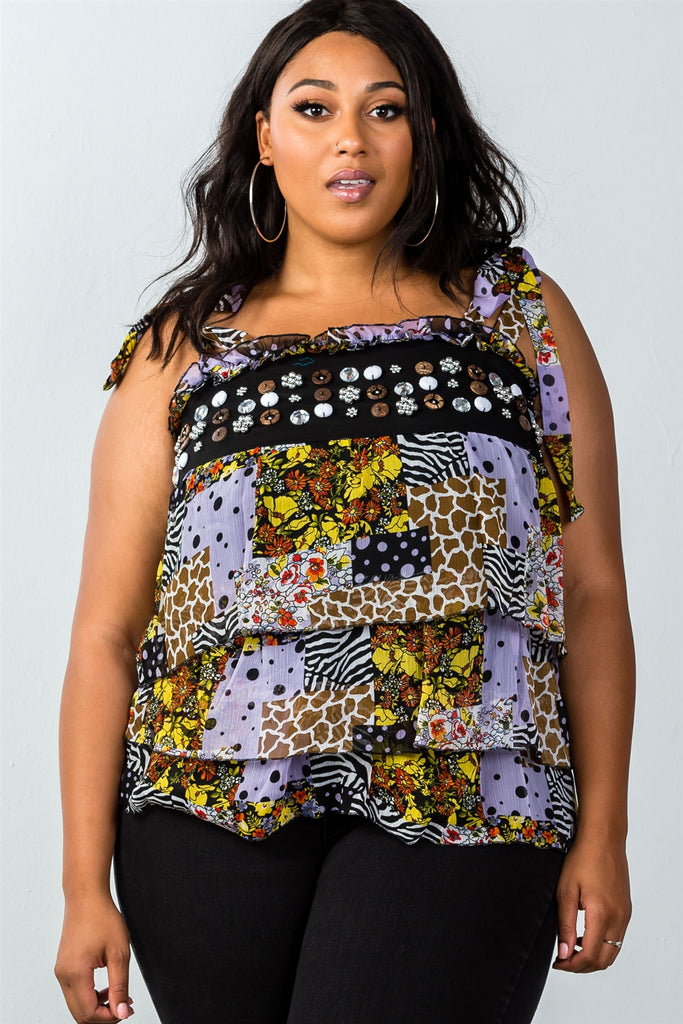 Ladies fashion plus size multi tie-shoulder layered top