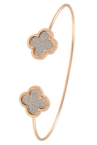 Ladies fashion clover tip cuff bracelet
