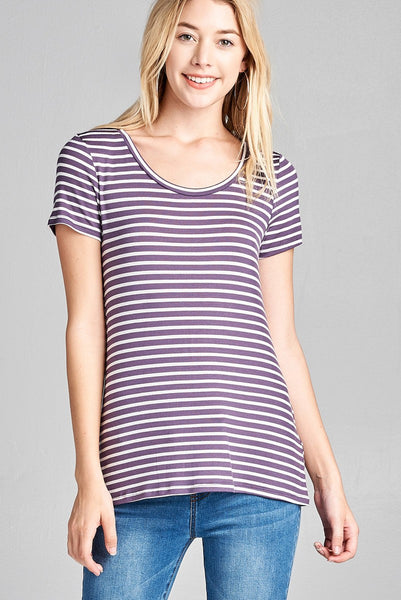 Ladies fashion short sleeve scoop neck stripe rayon spandex top