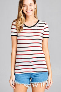 Ladies fashion short sleeve round neck yarn dye stripe rayon spandex jersey top - Presidential Brand (R)
