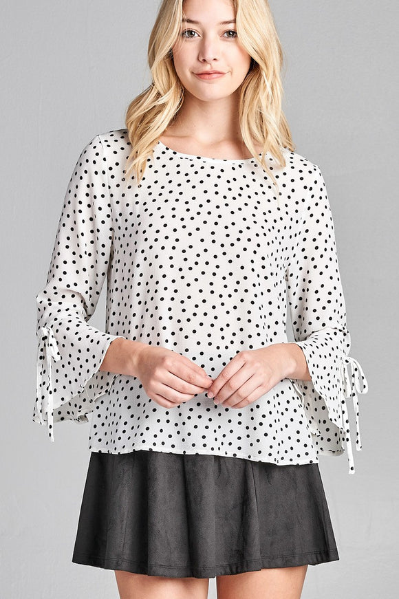 Ladies fashion 3/4 w/bell sleeve round neck dot print crepe woven top - Presidential Brand (R)